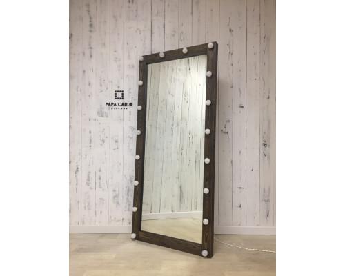 Гримерное зеркало с подсветкой черное дерево 180х80 из массива лиственницы