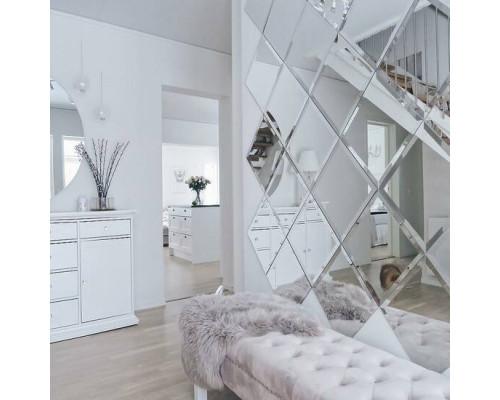 Зеркальное панно в гостиную с фацетом